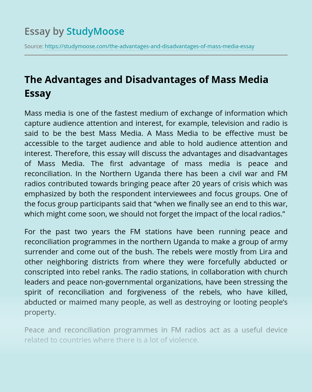 The Advantages and Disadvantages of Mass Media