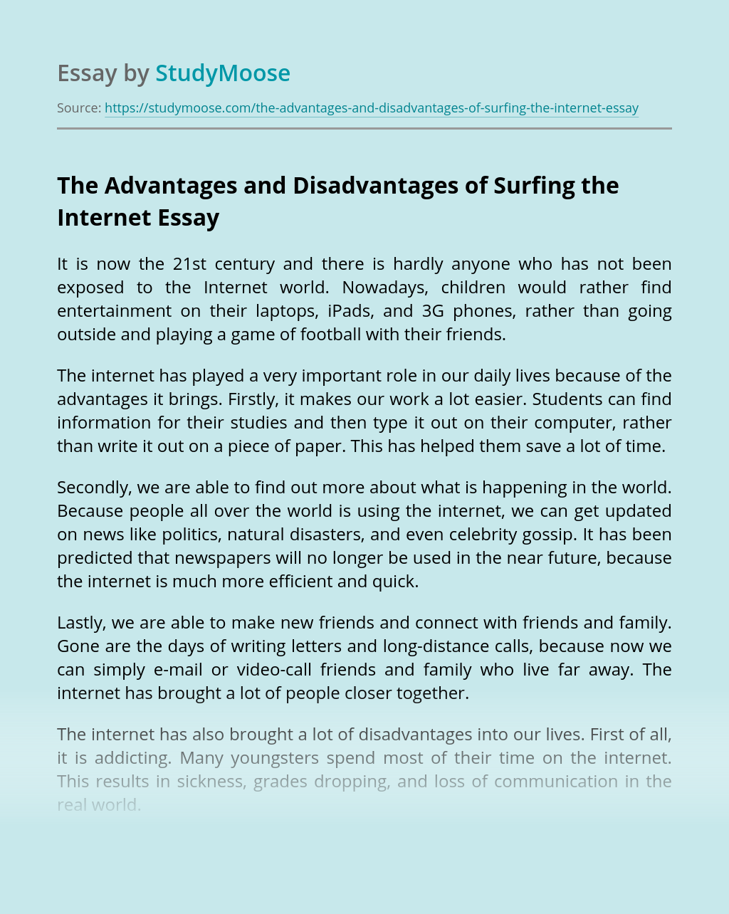 The Advantages and Disadvantages of Surfing the Internet