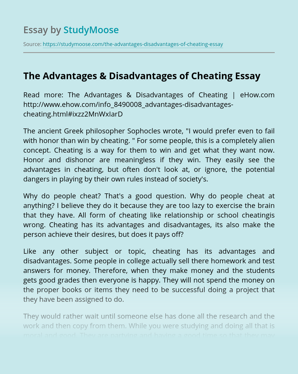 The Advantages & Disadvantages of Cheating