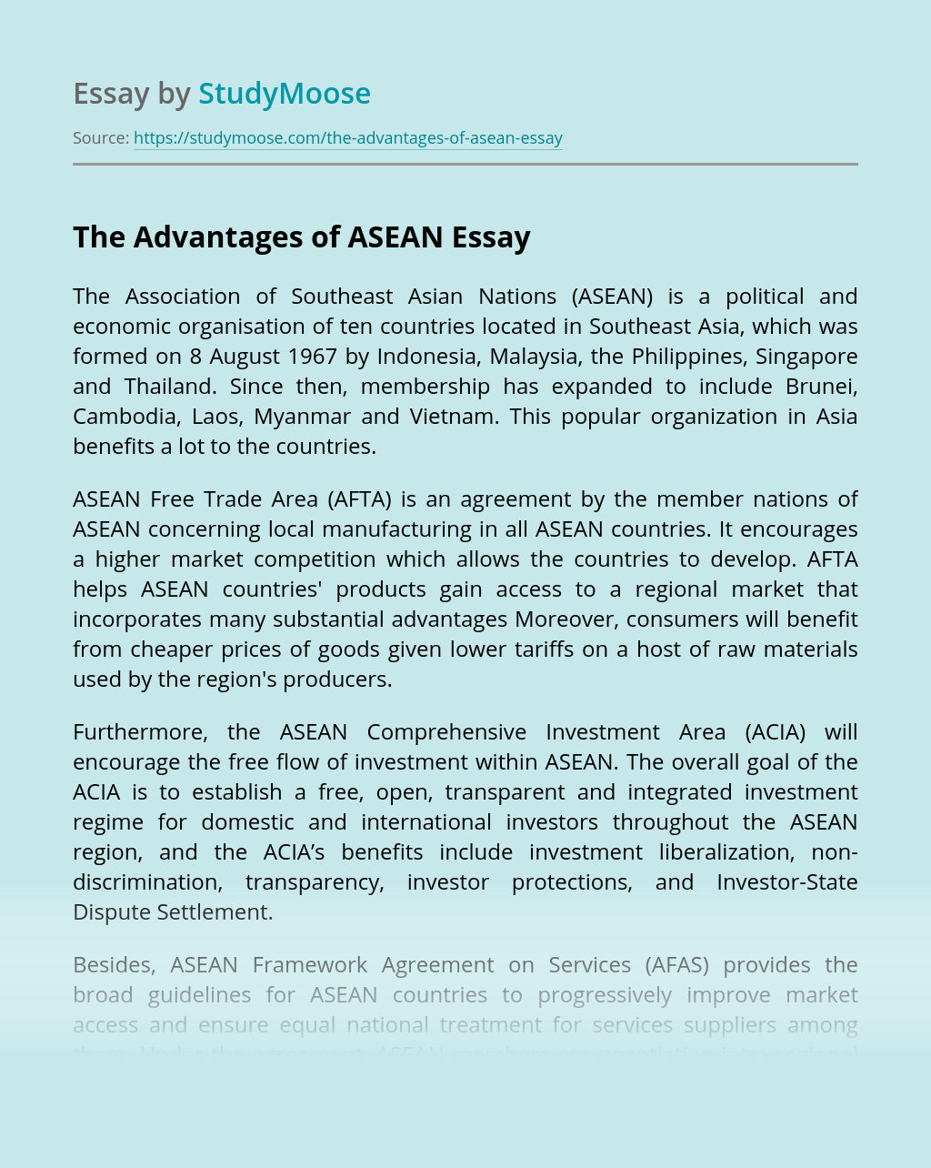 The Advantages of ASEAN