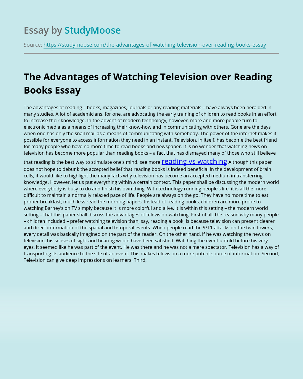 The Advantages of Watching Television over Reading Books