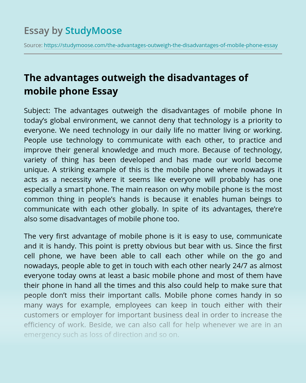 The advantages outweigh the disadvantages of mobile phone
