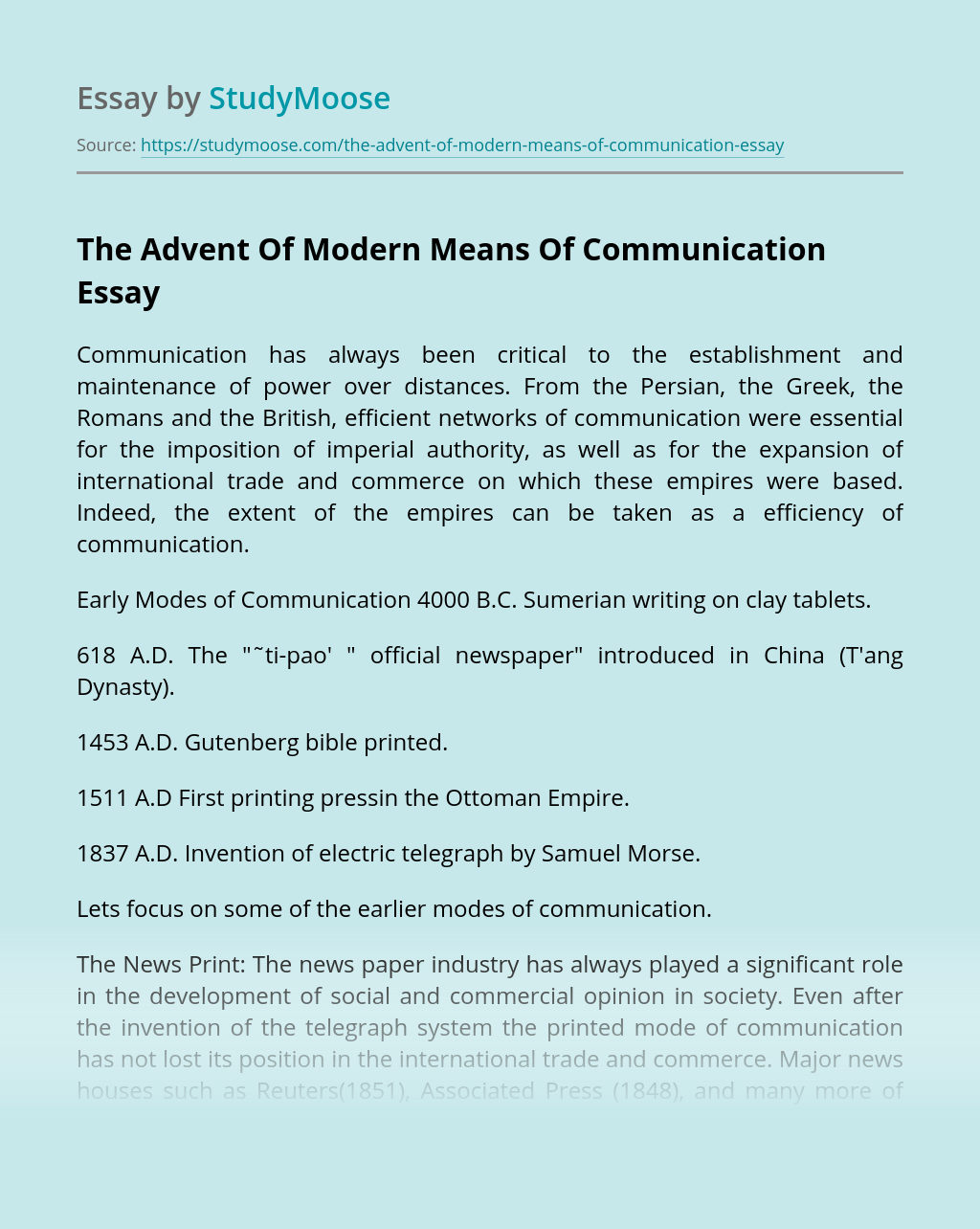 The Advent Of Modern Means Of Communication