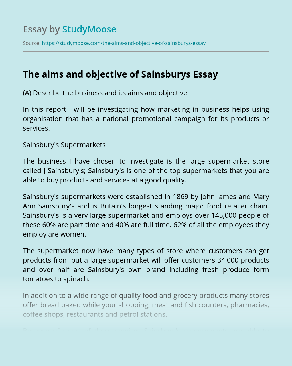 The aims and objective of Sainsburys