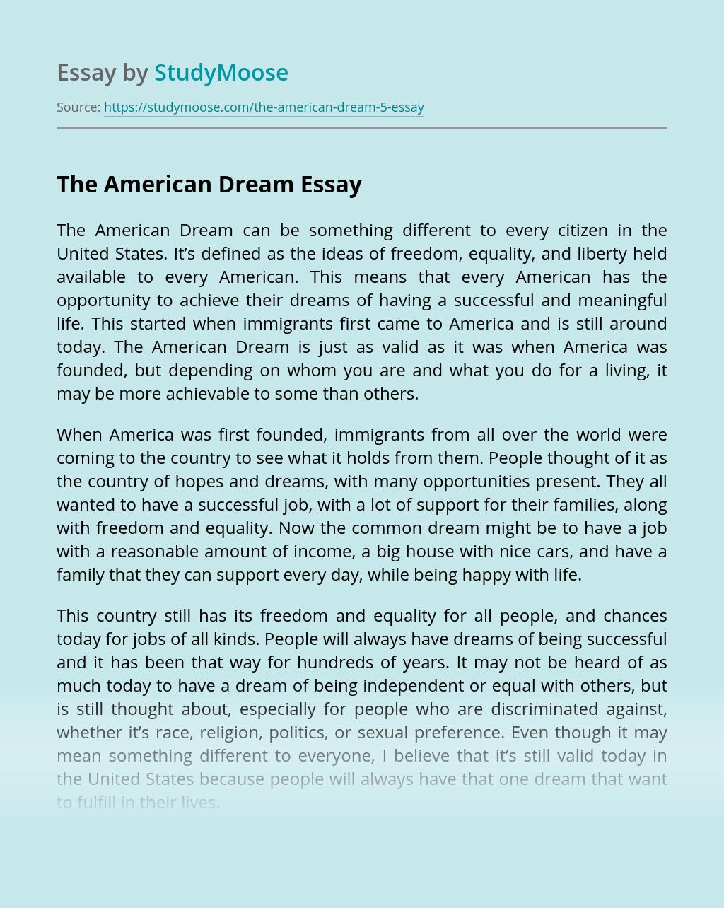 American Dream Definition Essay