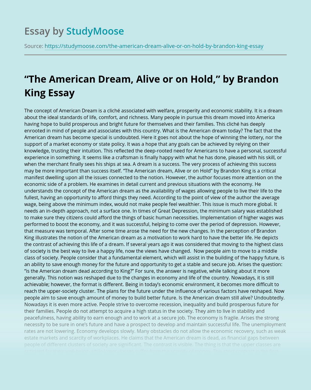 """""""The American Dream, Alive or on Hold,"""" by Brandon King"""