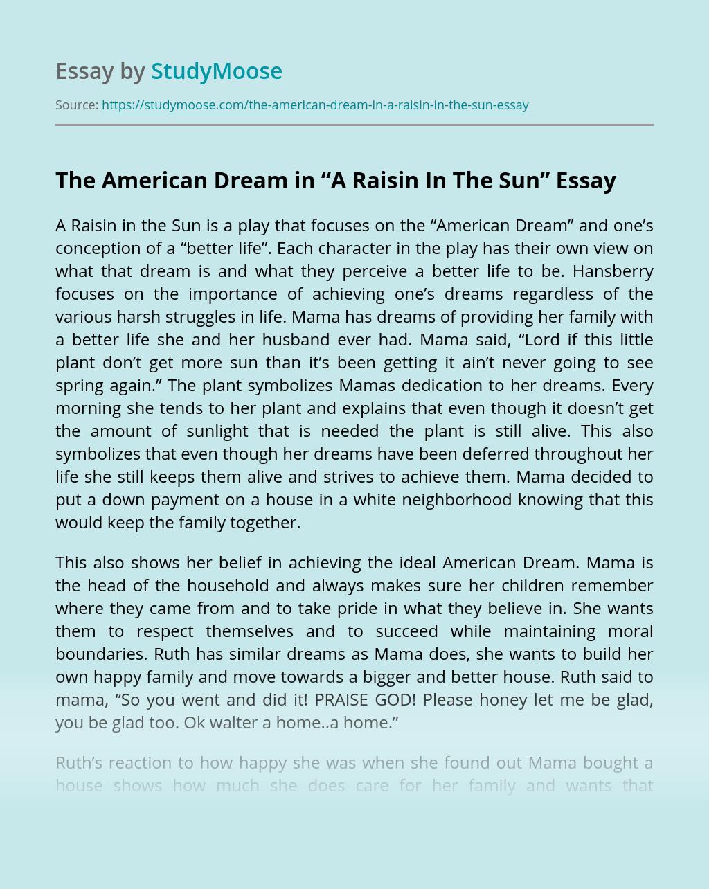 """The American Dream in """"A Raisin In The Sun"""""""