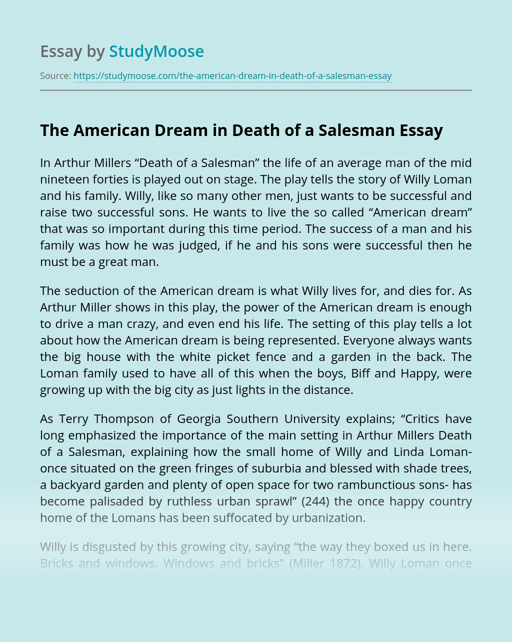 The American Dream in Death of a Salesman