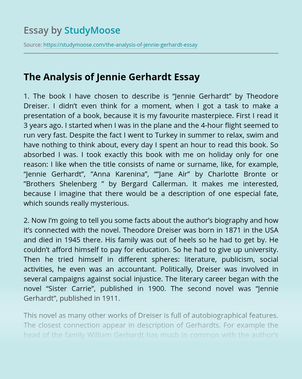 The Analysis of Jennie Gerhardt by Theodore Dreiser