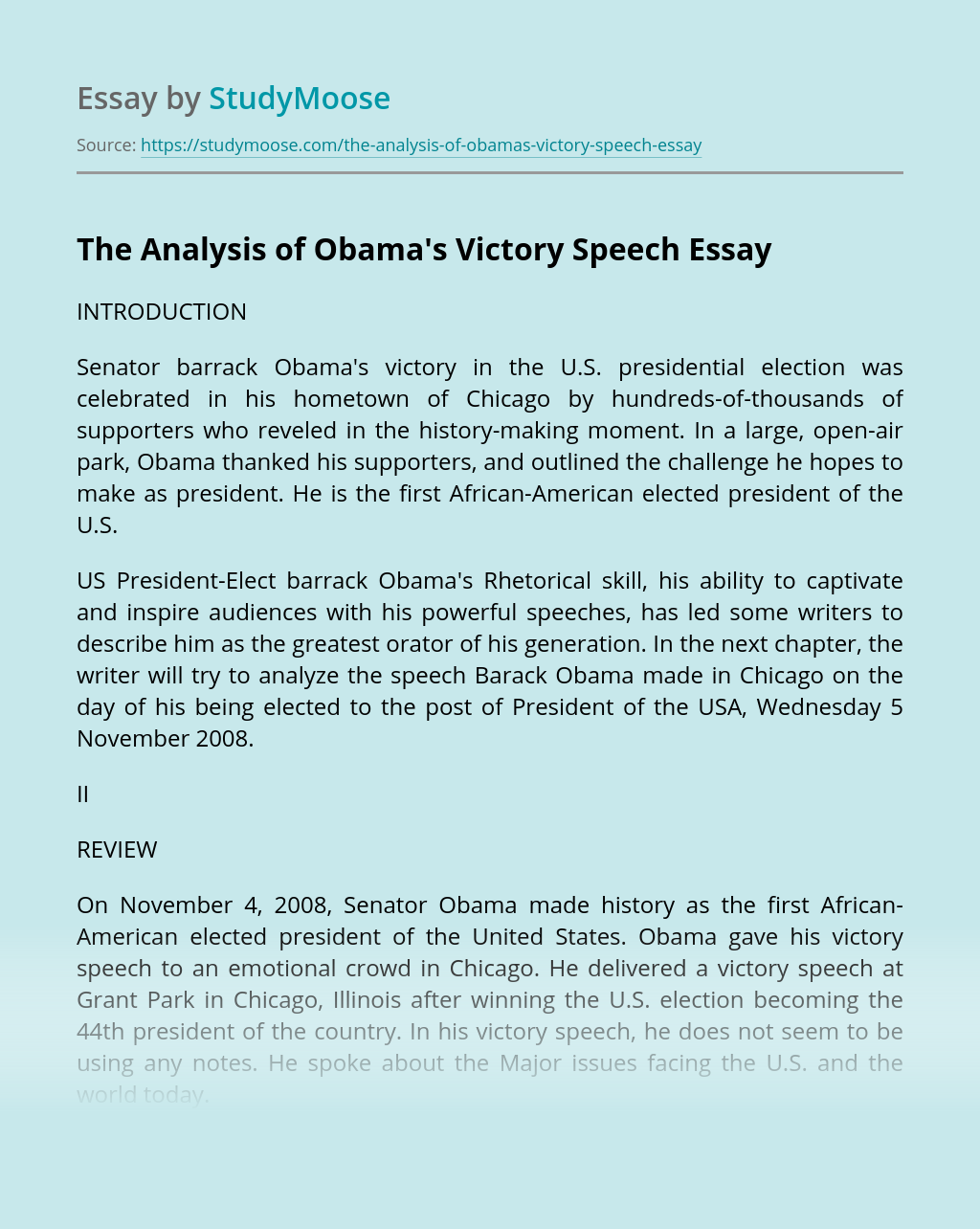 The Analysis of Obama's Victory Speech