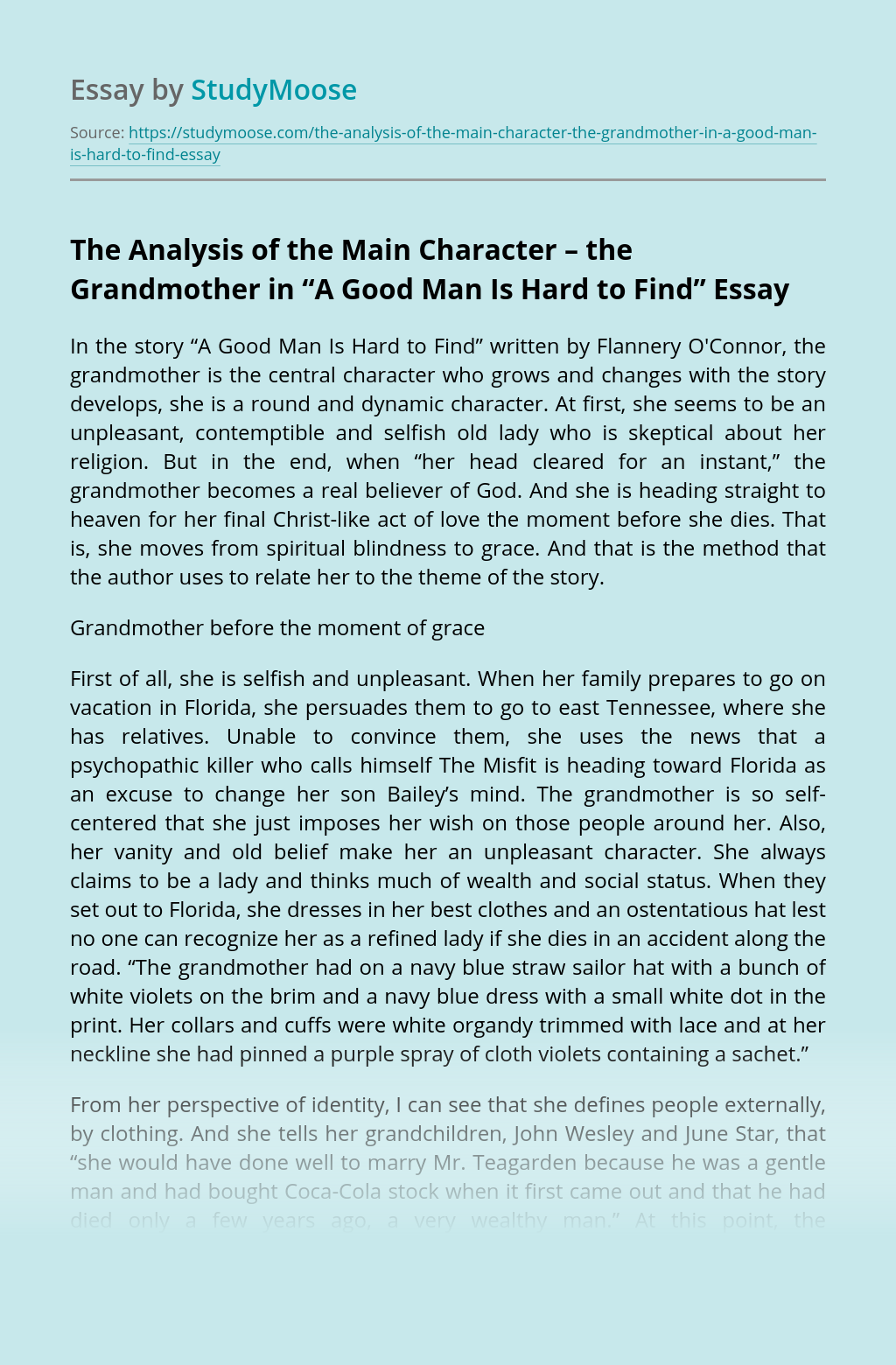 "The Analysis of the Main Character – the Grandmother in ""A Good Man Is Hard to Find"""