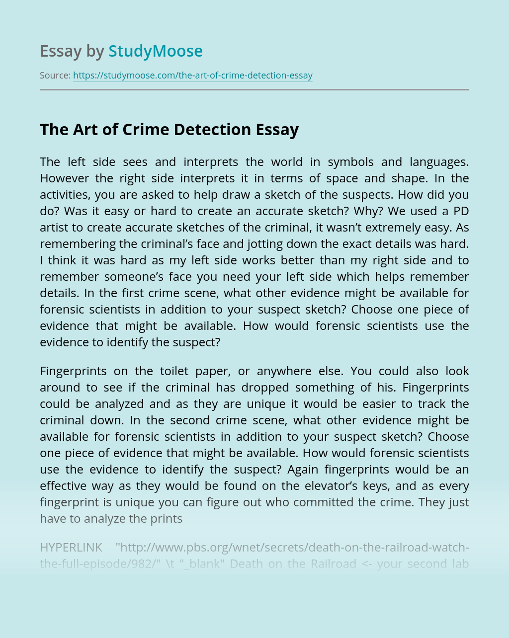 The Art of Crime Detection