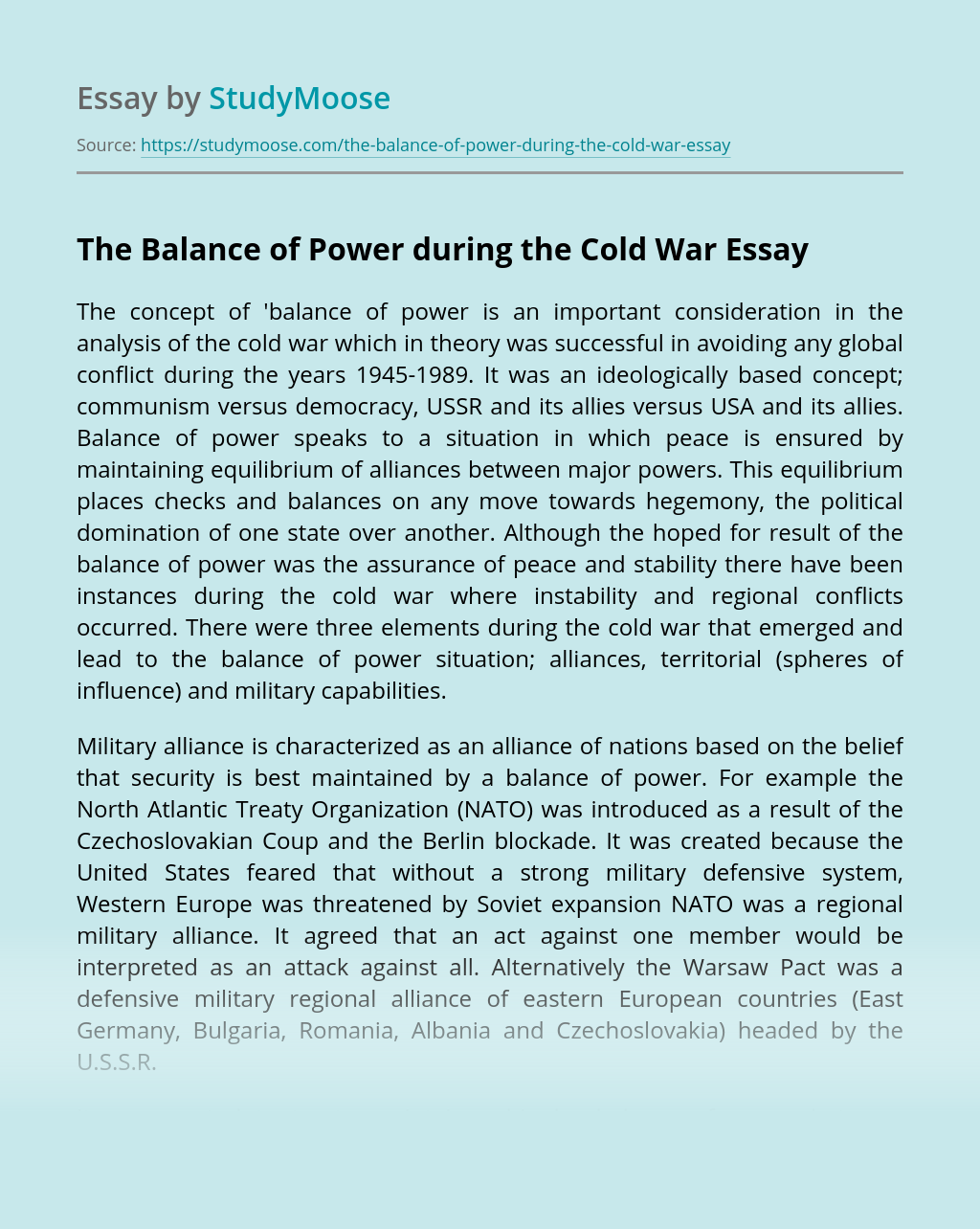 The Balance of Power during the Cold War