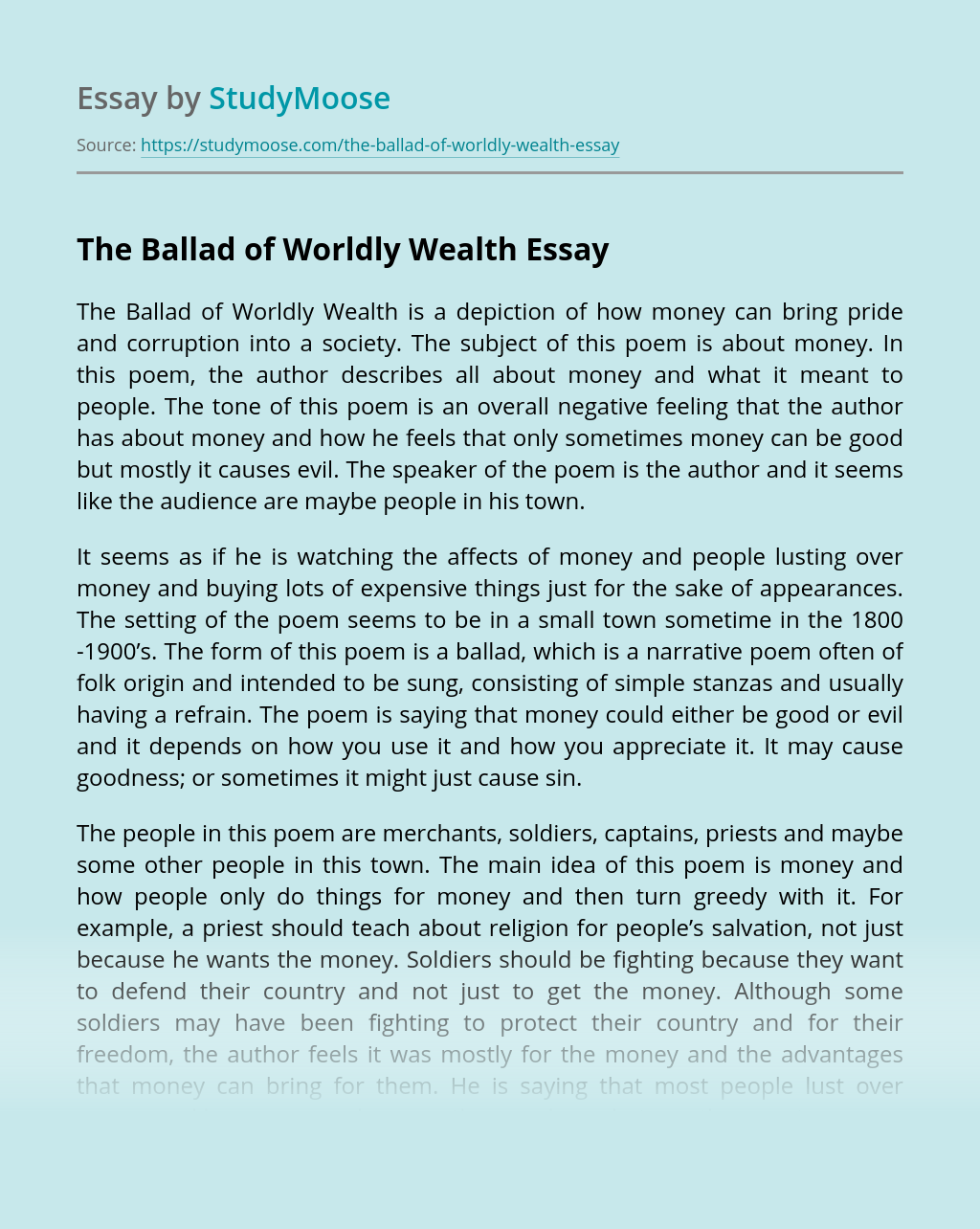 The Ballad of Worldly Wealth