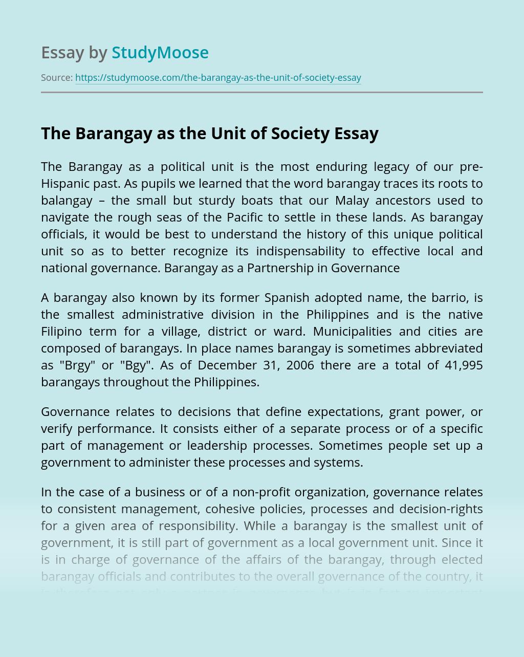 The Barangay as the Unit of Society