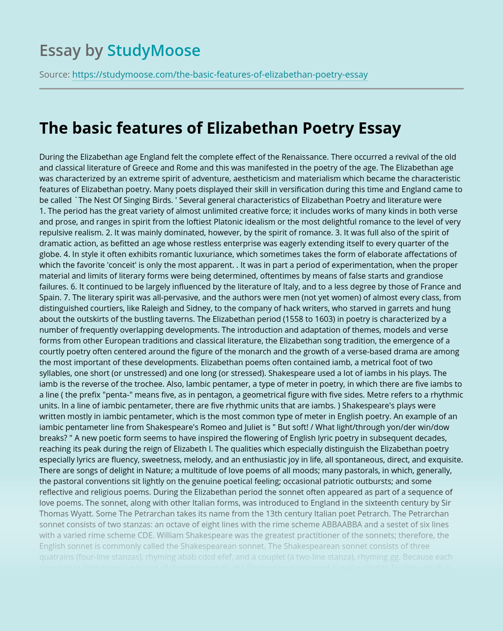 The basic features of Elizabethan Poetry