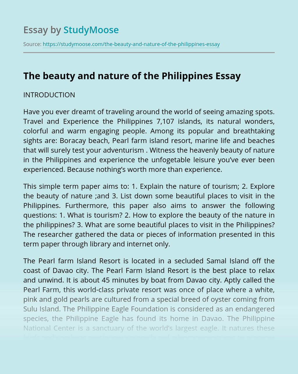 The beauty and nature of the Philippines