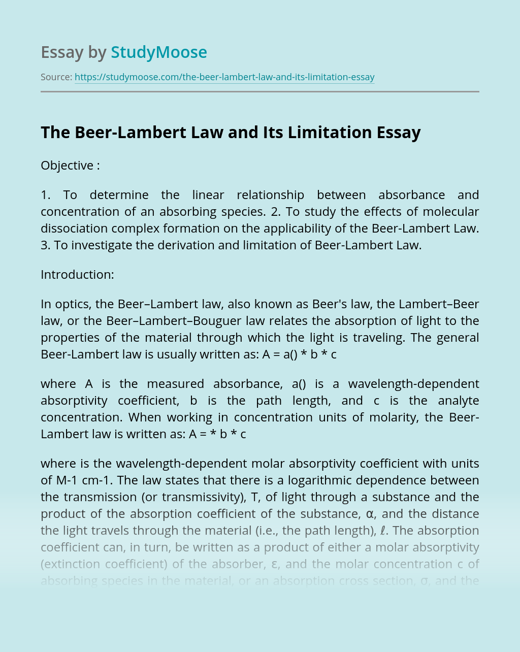 The Beer-Lambert Law and Its Limitation