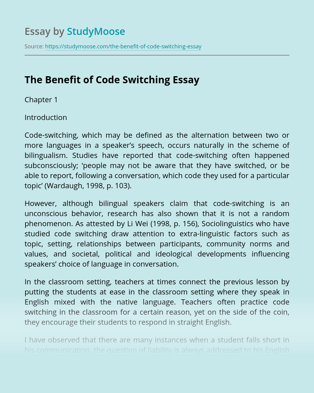 The Benefit of Code Switching