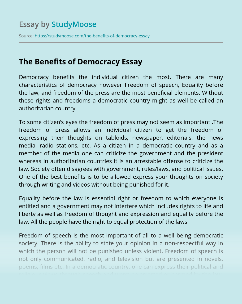 The Benefits of Democracy