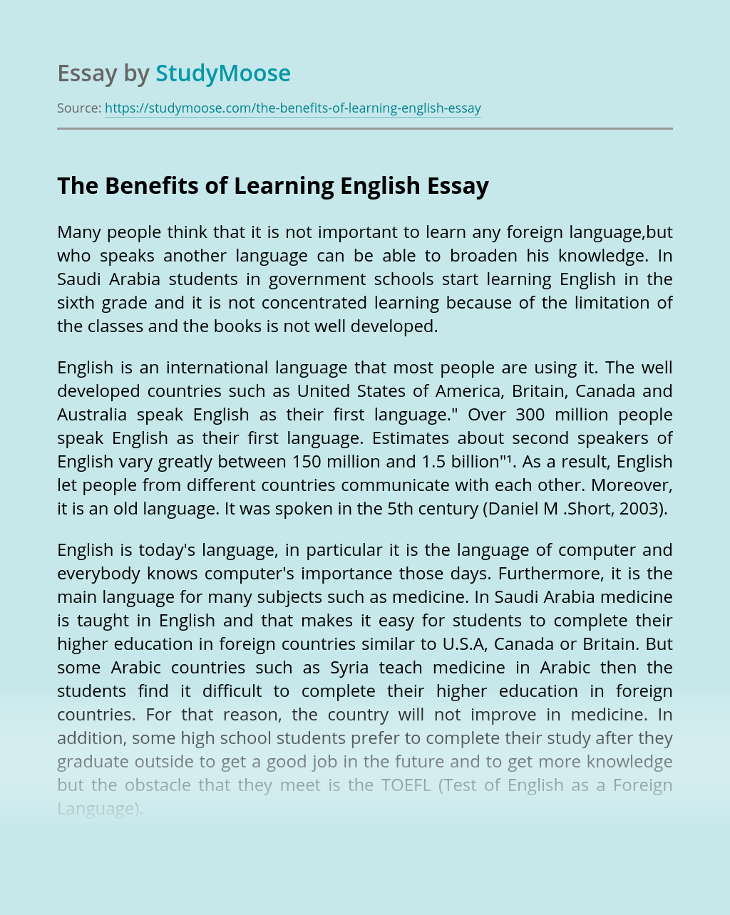 The Benefits of Learning English