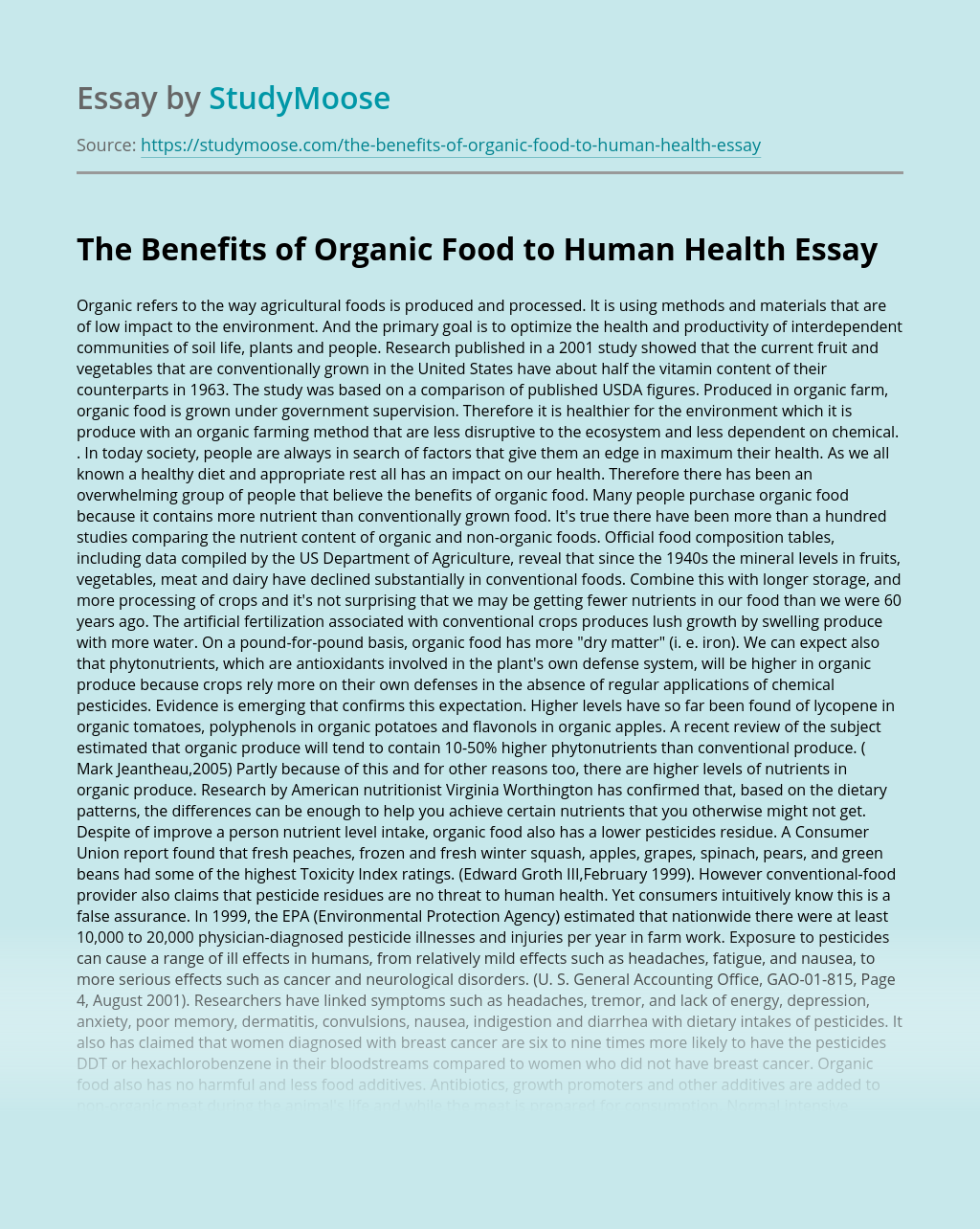 The Benefits of Organic Food to Human Health