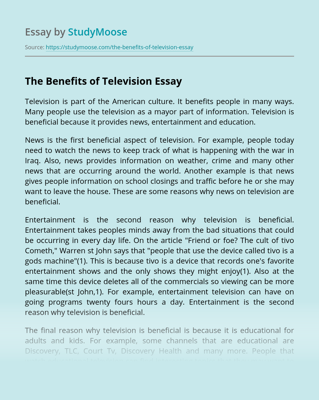 The Benefits of Television