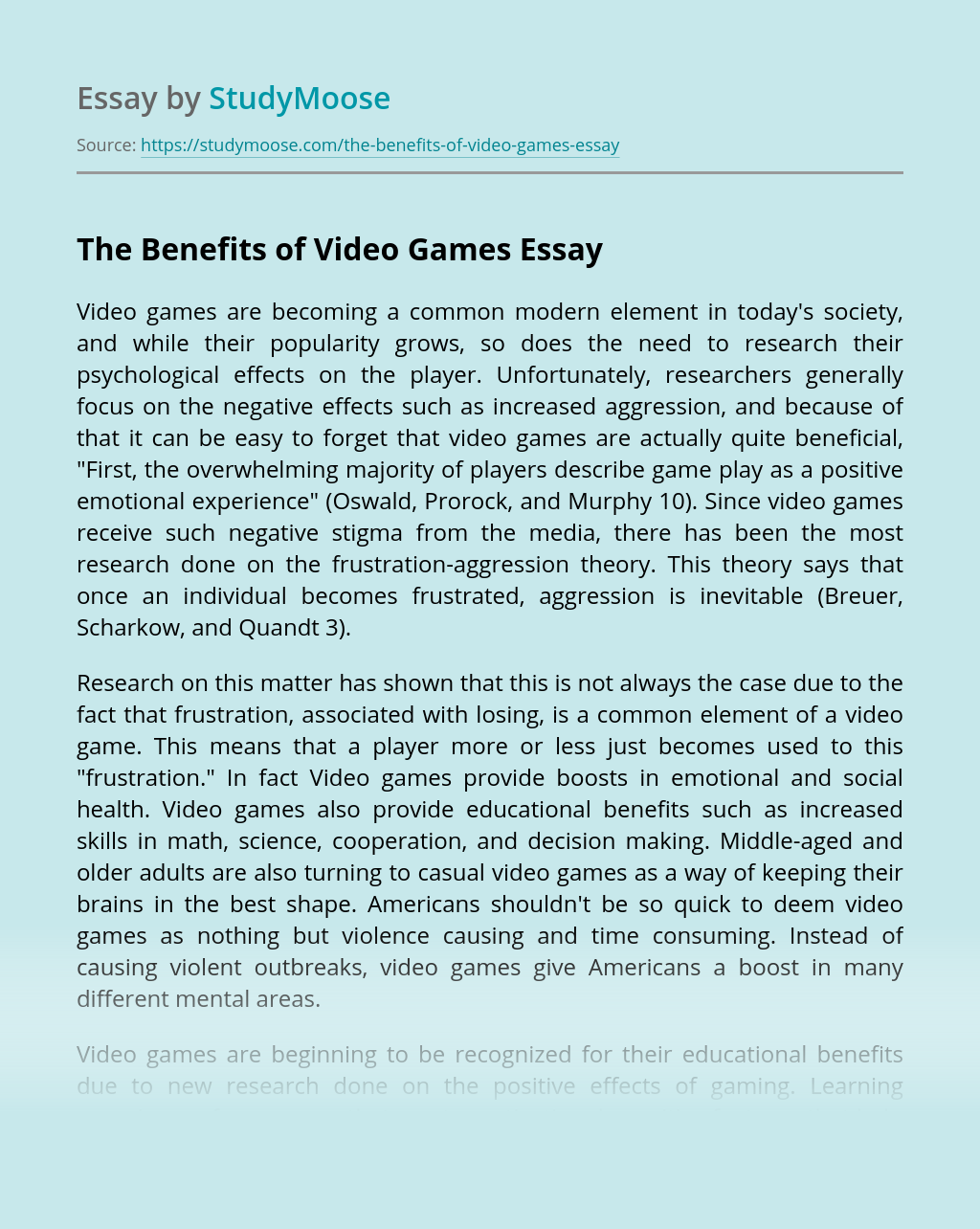 The Benefits of Video Games