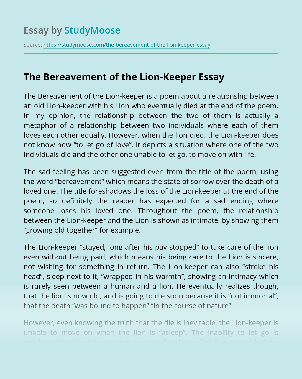 The Bereavement of the Lion-Keeper