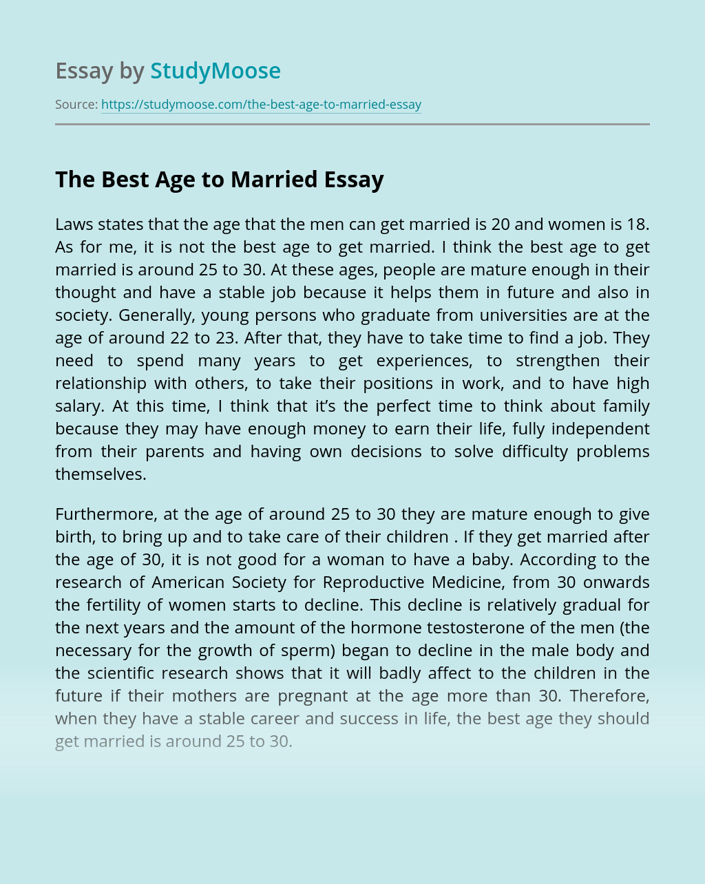 The Best Age to Married