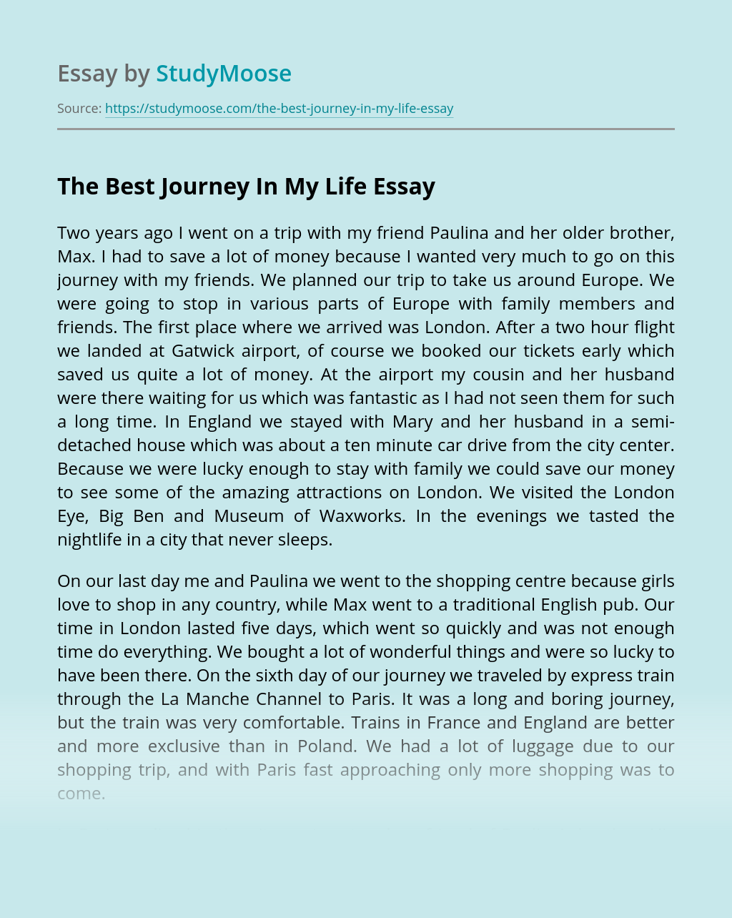 The Best Journey In My Life