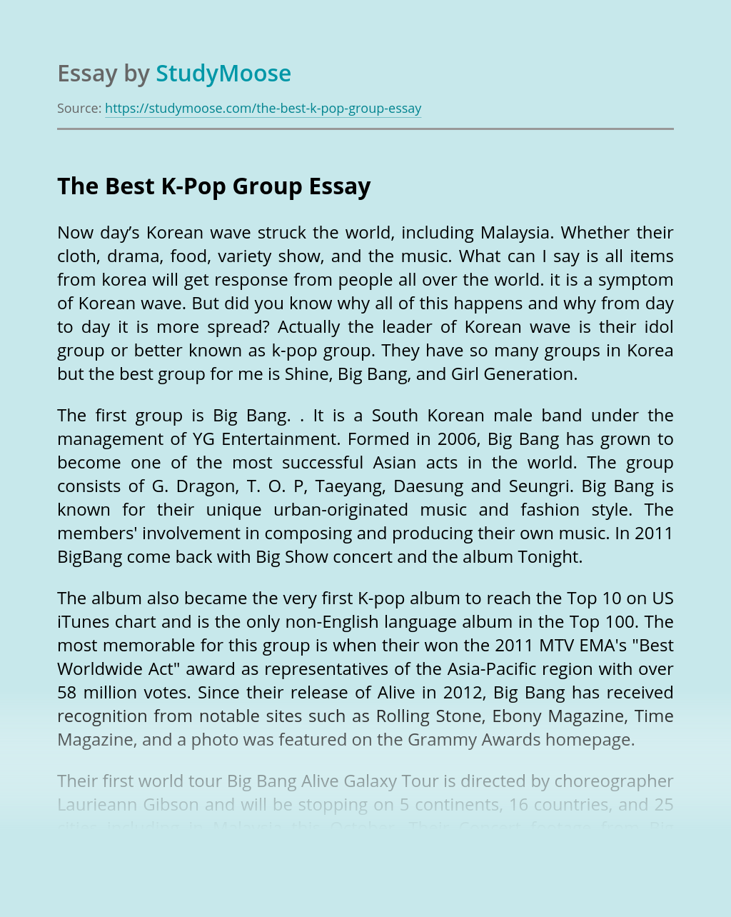The Best K Pop Group Free Essay Example