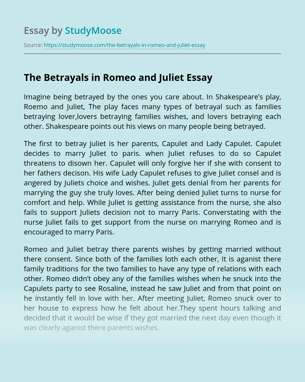 The Betrayals in Romeo and Juliet