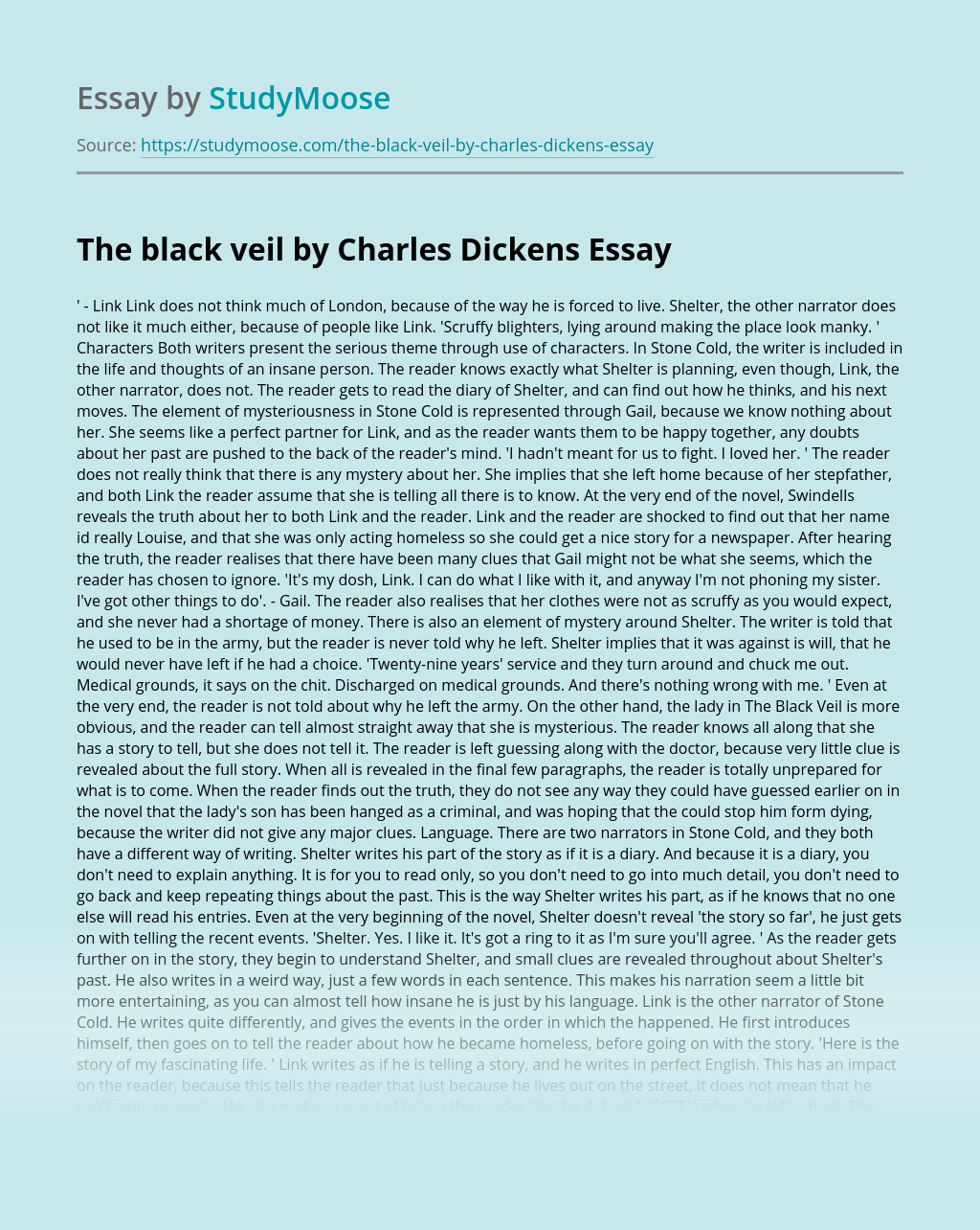 The black veil by Charles Dickens