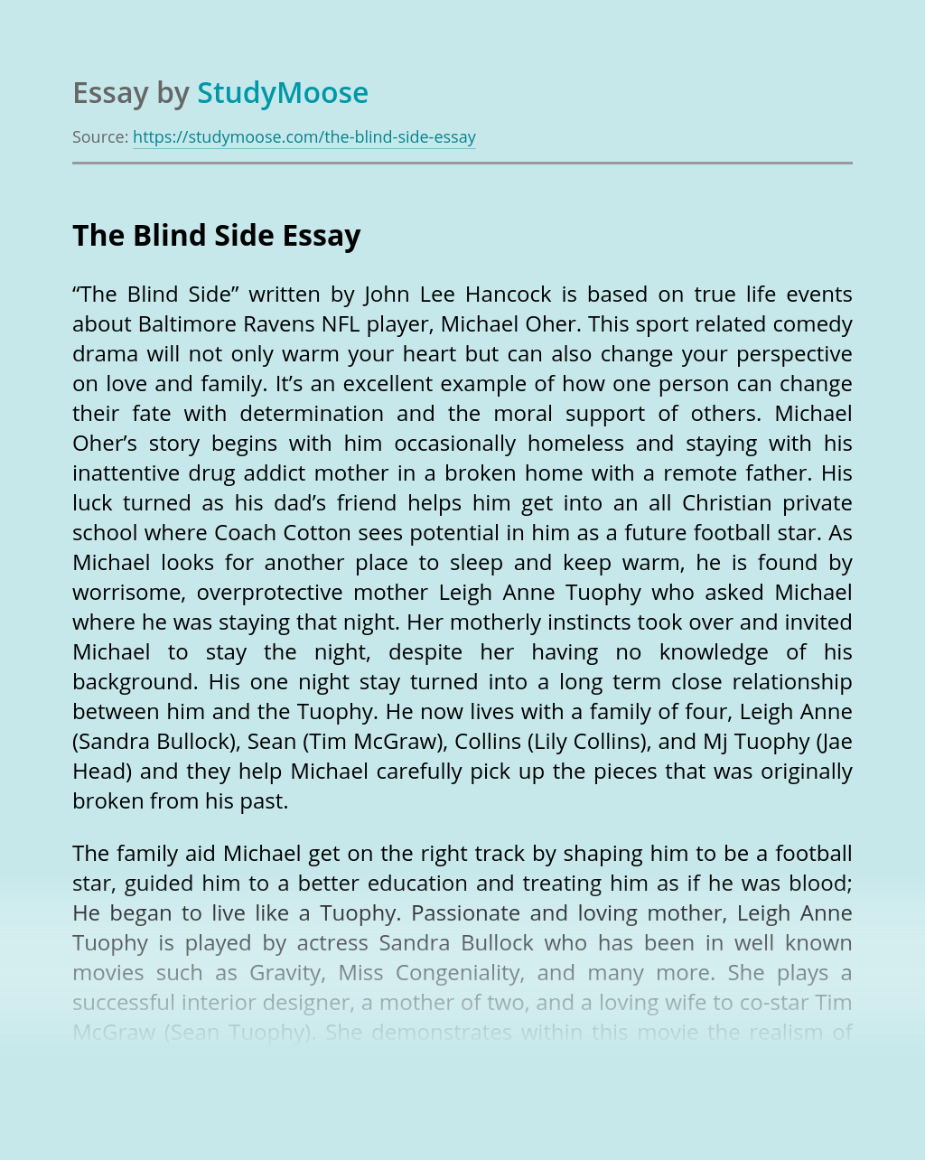 The Blind Side: Real-Life Background