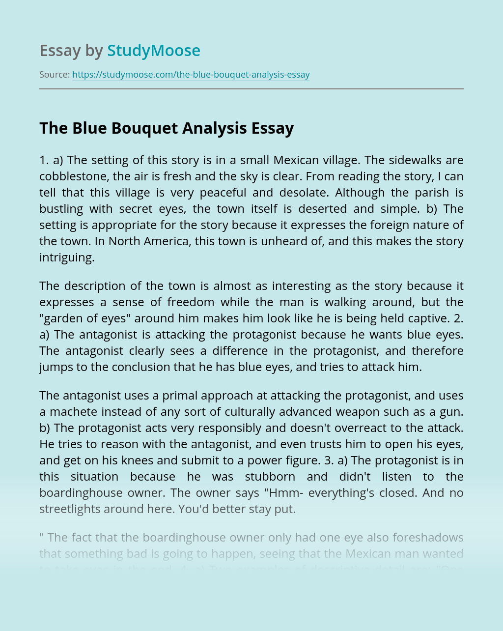 The Blue Bouquet Analysis