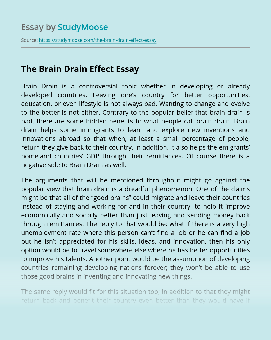 Brain drain essay example tips for writing a good application essay