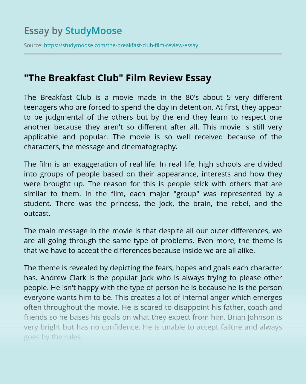 """""""The Breakfast Club"""" Film Review"""