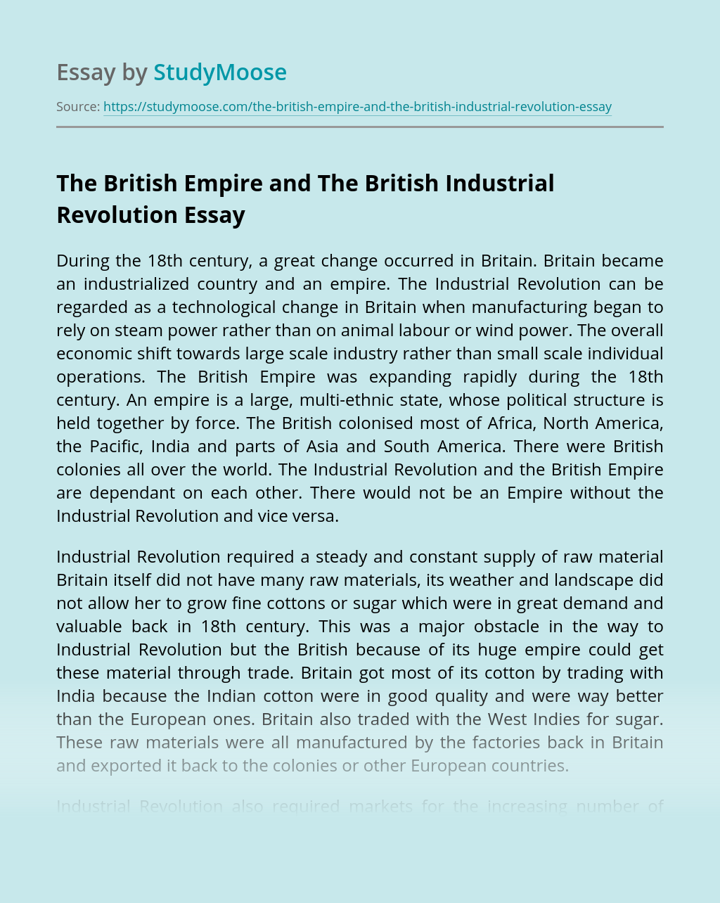 The British Empire and The British Industrial Revolution