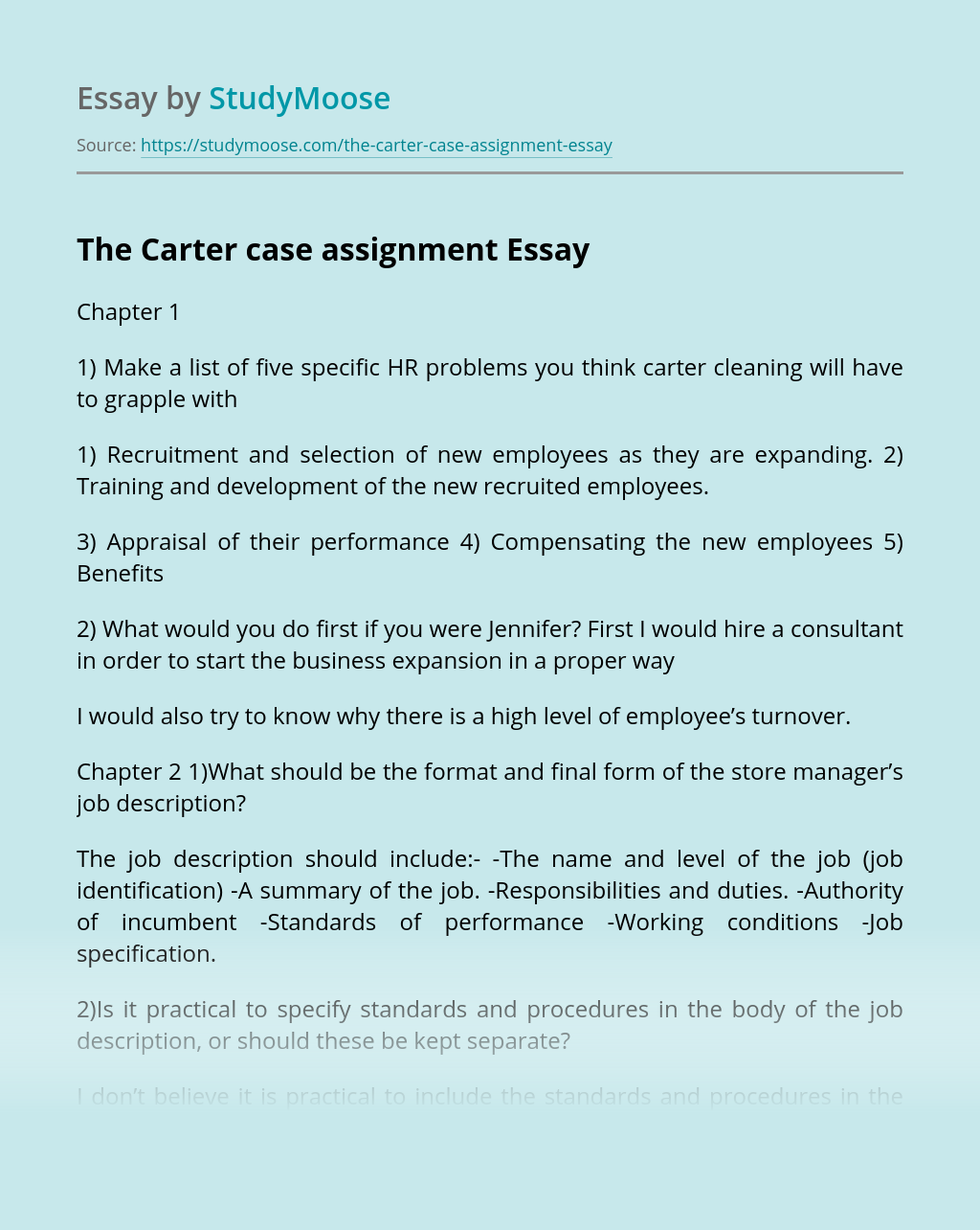 The Carter case assignment