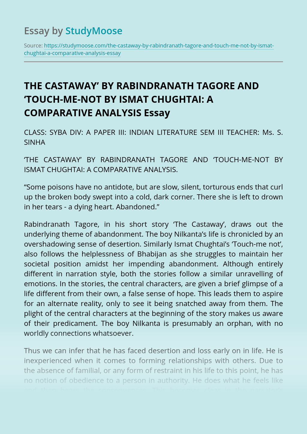 The Castaway' by Rabindranath Tagore and 'Touch-me-not by Ismat Chughtai: A Comparative Analysis