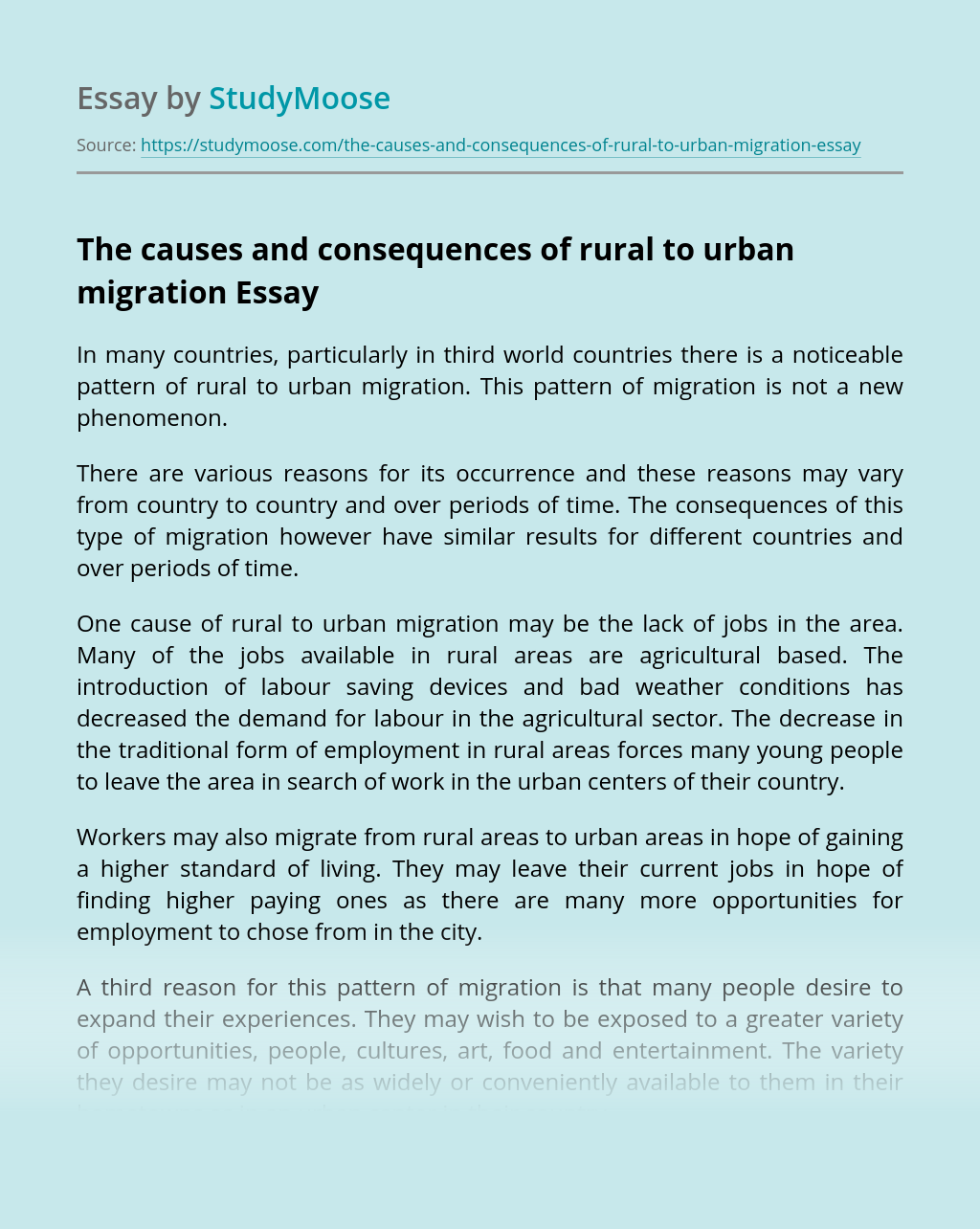 The causes and consequences of rural to urban migration