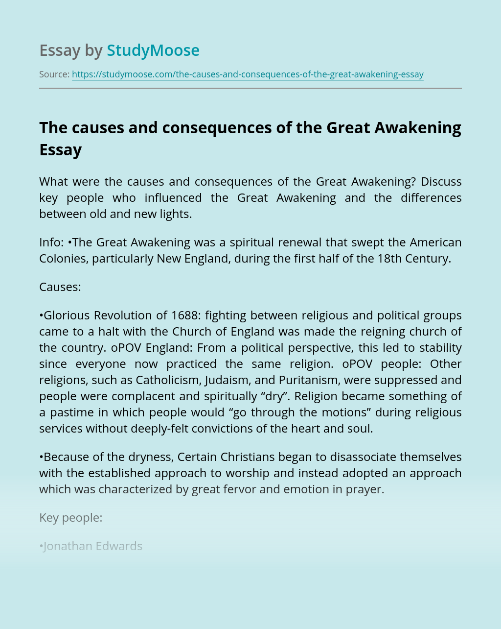 The causes and consequences of the Great Awakening