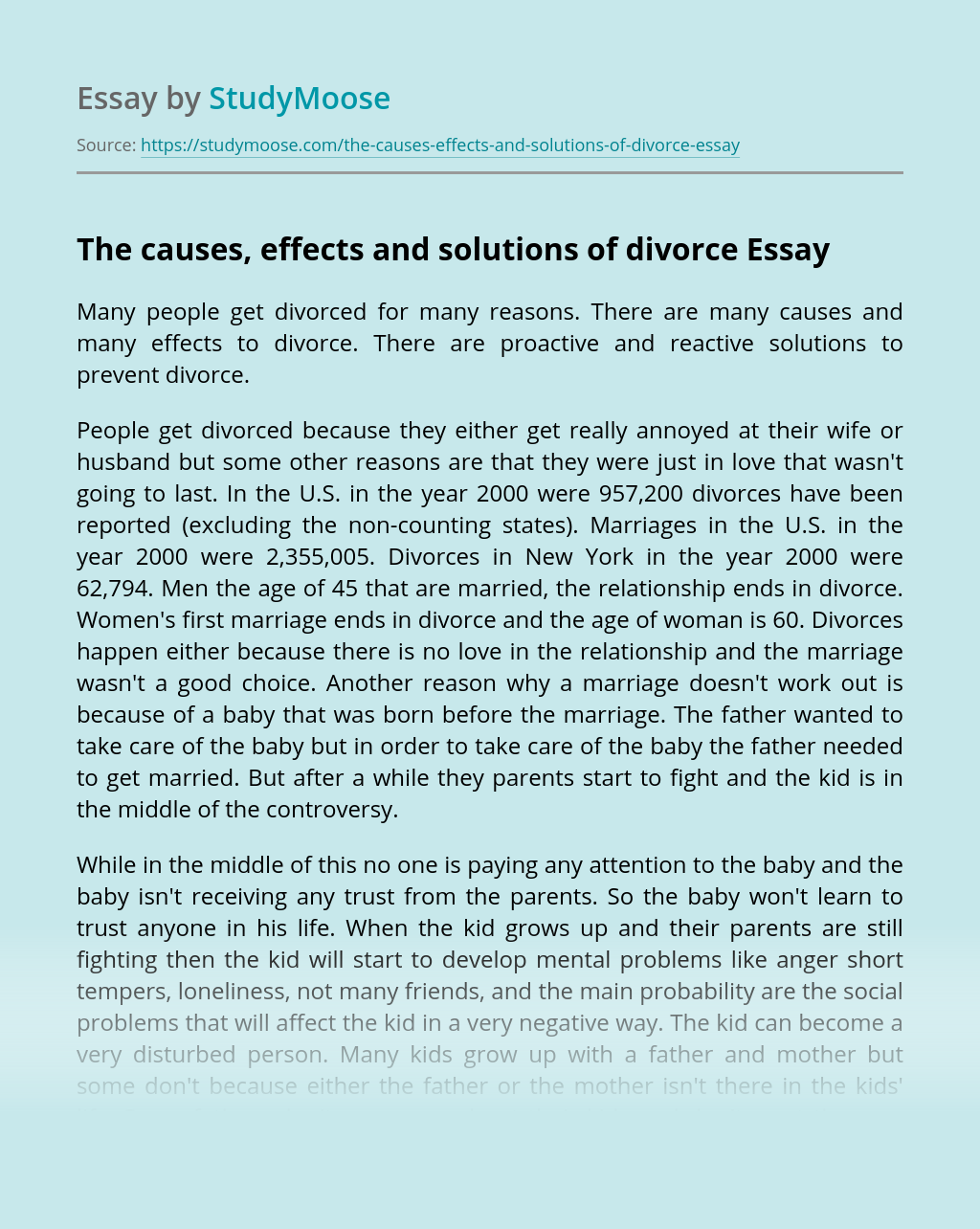 The causes, effects and solutions of divorce