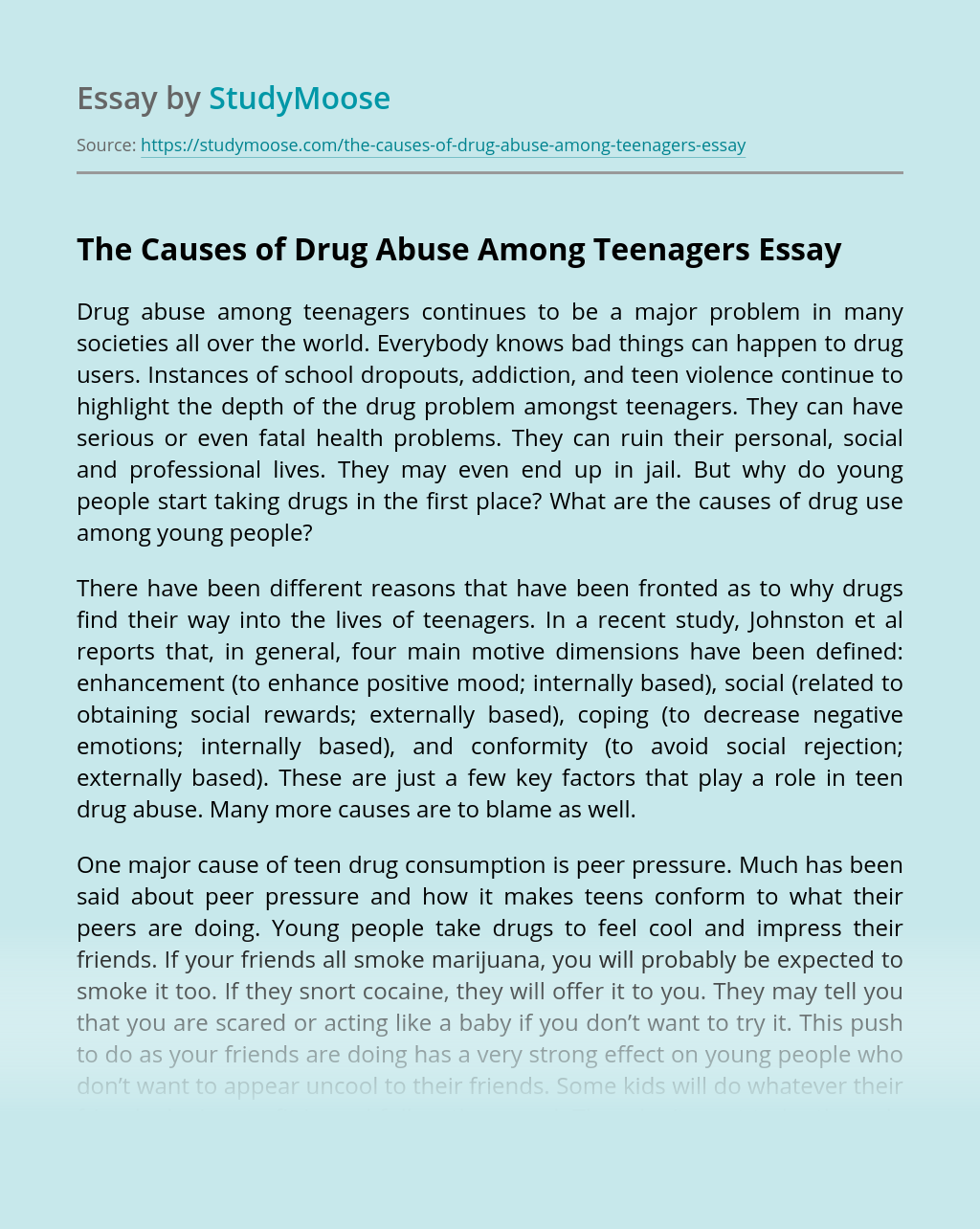 The Causes of Drug Abuse Among Teenagers