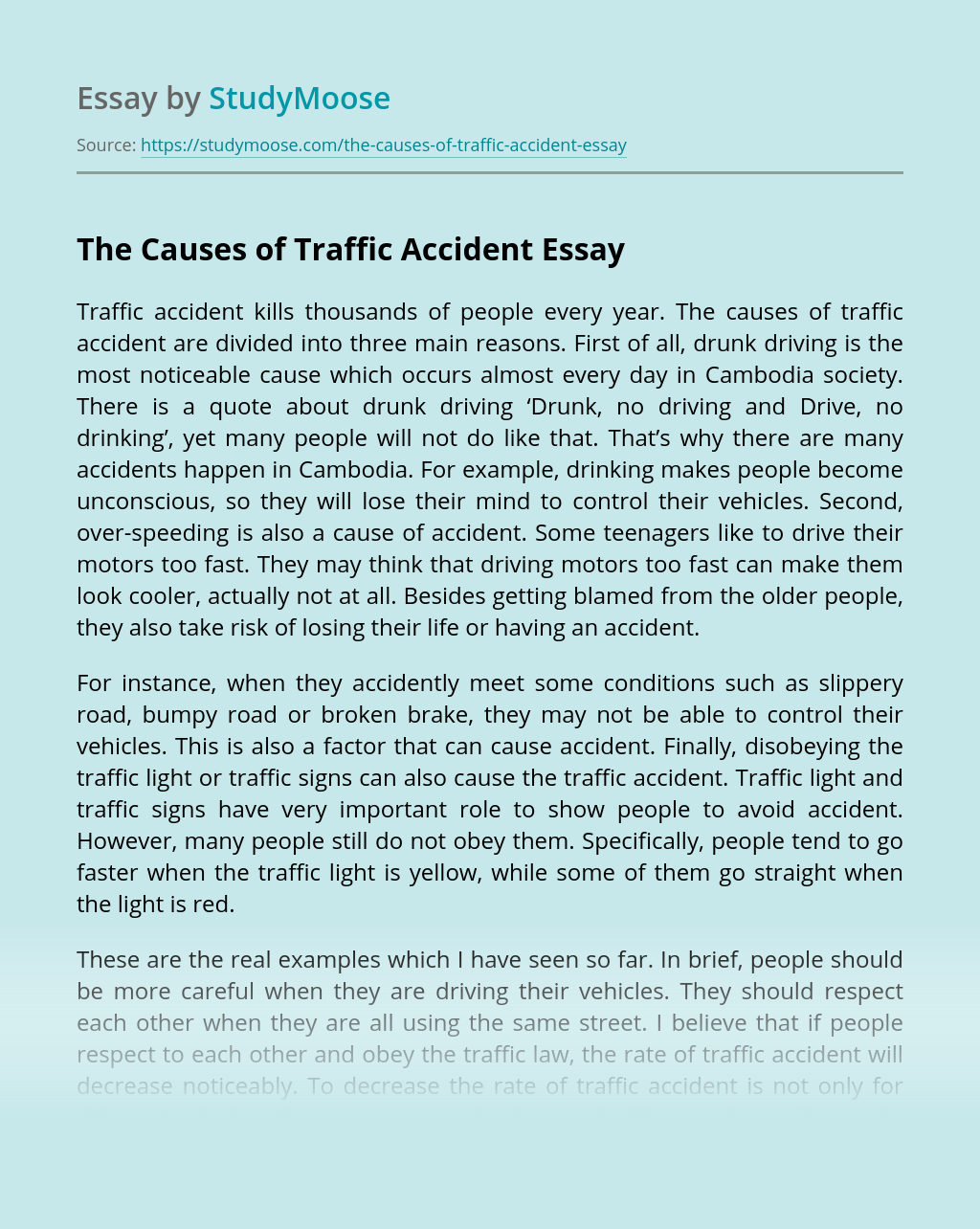 The Causes of Traffic Accident