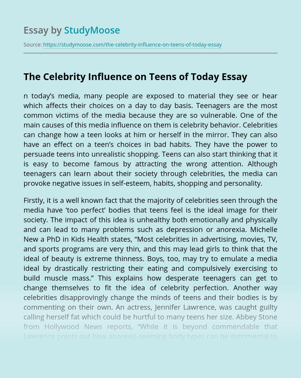 The Celebrity Influence on Teens of Today
