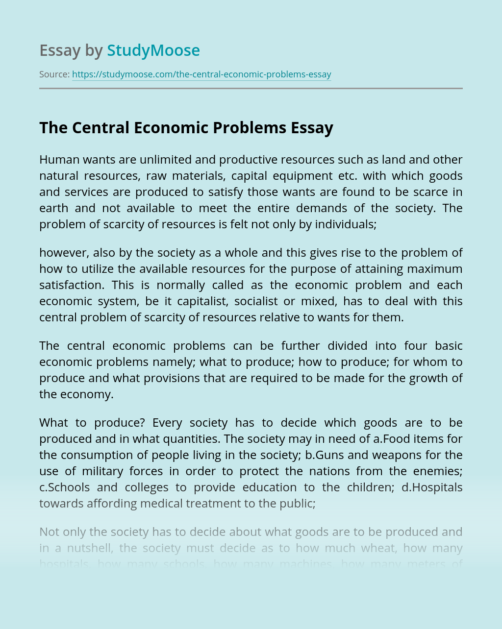 The Central Economic Problems