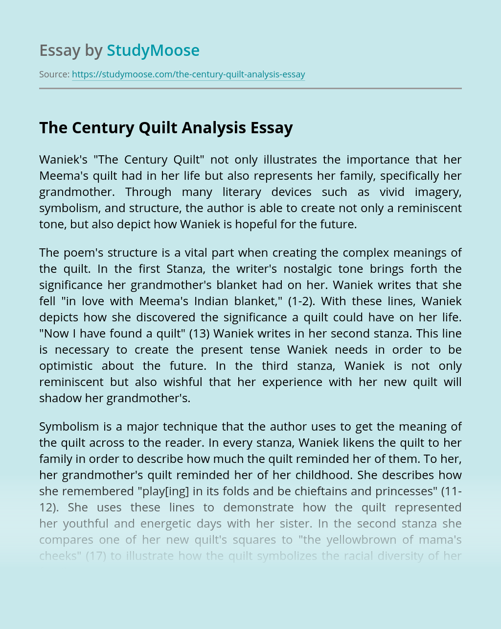 The Century Quilt Analysis