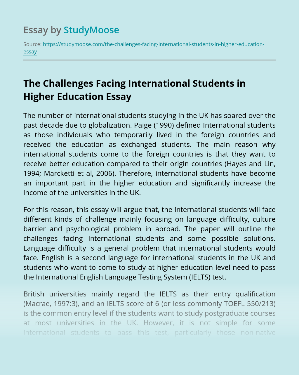 The Challenges Facing International Students in Higher Education